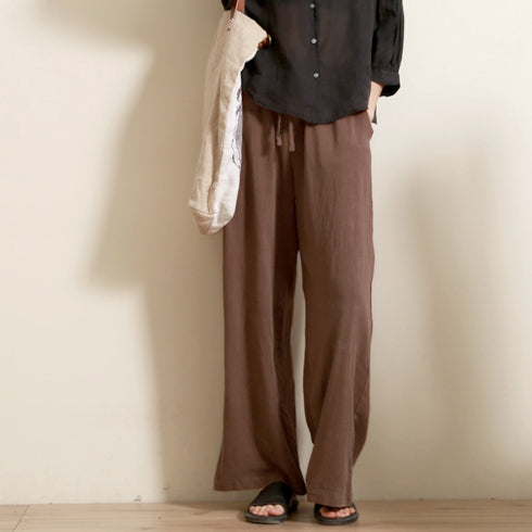 find lowest price presenting hot sale Beige And Coffee Casual Cotton Linen Pants Women Loose Trousers 8858