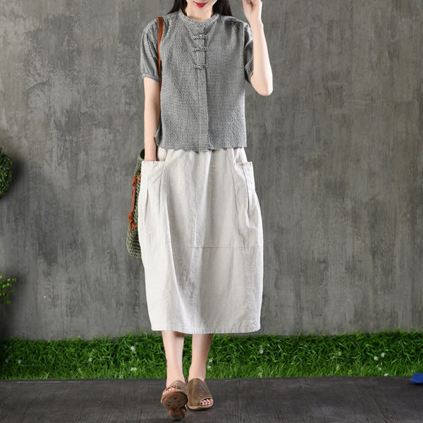 Vintage Casual Linen Skirt Women Summer Loose Clothes Q1283