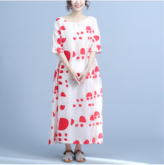 Women Red Cute Maxi Dresses Summer Loose Clothes Q24044
