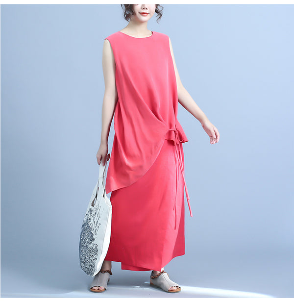 Summer Black And Red Sleeveless Maxi Dresses For Women Q24045