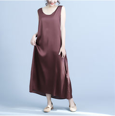 Casual Black And Coffee Sleeveless Sundresses Women Summer Clothes Q24048
