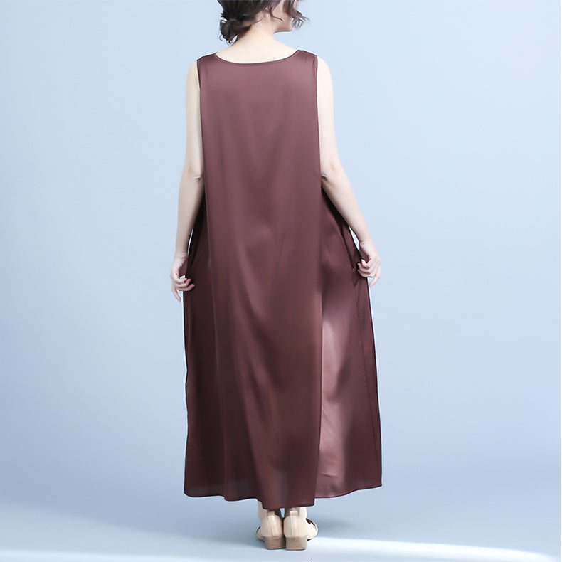 0e46b41d59eb Casual Black And Coffee Sleeveless Sundresses Women Summer Clothes Q24048