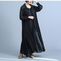 Women Black Long Thin Chiffon Coat Summer Casual Outfits C22040
