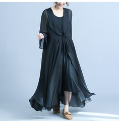 Loose Black Chiffon Long Coat Women Casual Outfits For Summer C22041
