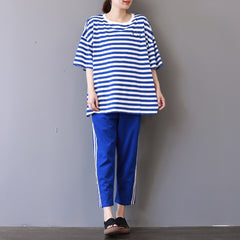 Casual Women Summer Two Piece Striped Shirts With Harem Pants S22043