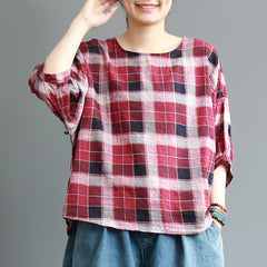 Loose Red And Coffee Plaid Cotton Blouse Women Summer Tops S22044