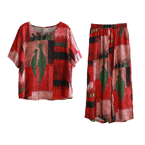 Summer Loose Women Two Piece Casual Print Tops With Wide-leg Pants S29042