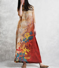 Simple Red Print Linen Loose Dresses For Women Q29041