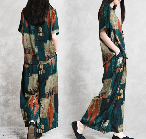 Loose Summer Two Piece Green Blouse With Wide-leg Pants For Women S29047