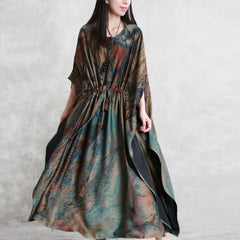 Casual Green Silk Maxi Dresses Women Summer Loose Gown Q30041