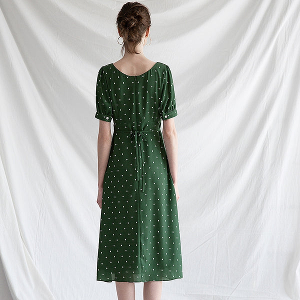 Vintage Cute Green And Pink Floral Dresses For Summer Q30045