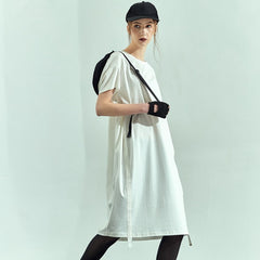 Loose White Cotton Summer Shirt Dresses Women Simple Outfits HS526
