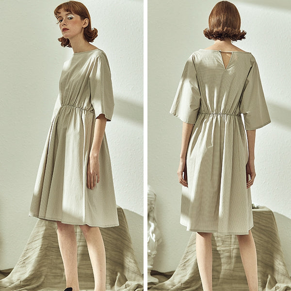 Vintage High Waist Beige Plaid Cotton Dresses For Women S1923