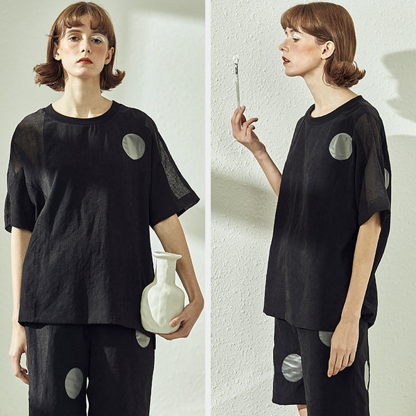 Casual Black Quilted Loose Shirt Women Casual Tops S19387