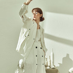 Casual White Thin Short Coat Women Cute Outfits HS510