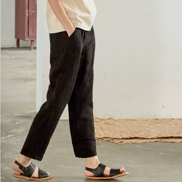 Women Pure Color Linen Casual Pants Summer Loose Trousers V1821