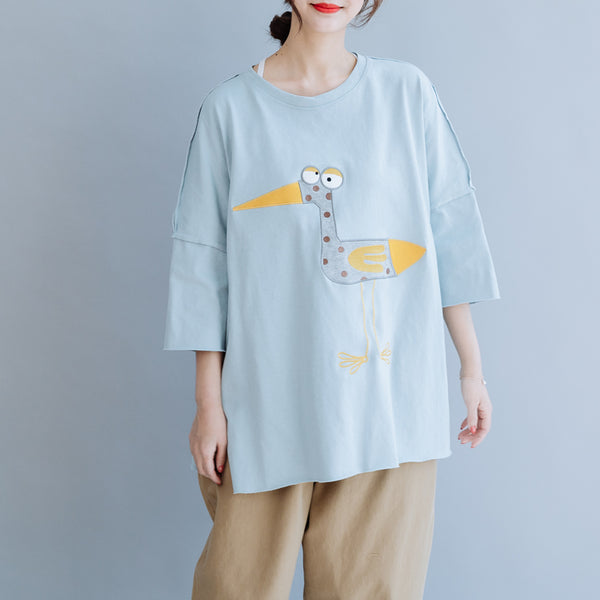 Cute Cartoon Loose Cotton Shirt Women Summer Casual Blouse S6055