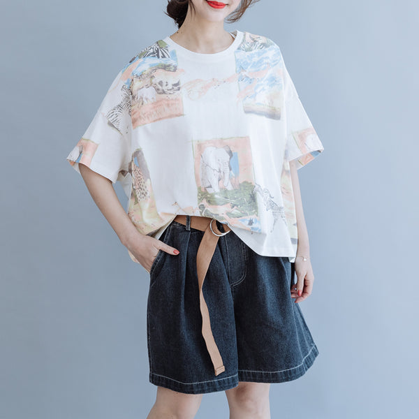 Women Loose Print Cotton Shirt Summer Casual Tops S6056