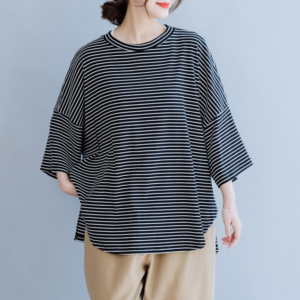 Black Striped Loose Cotton Shirt Women Casual Summer Blouse S6058