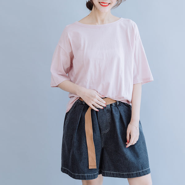 Loose Pure Color Cotton Shirt Women Casual Blouse For Summer S7052