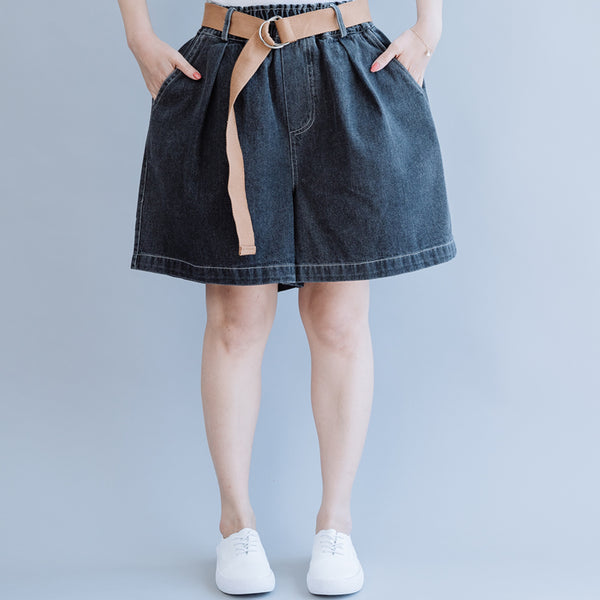 Women Loose Black And Blue Cowboy Shorts For Summer K6052