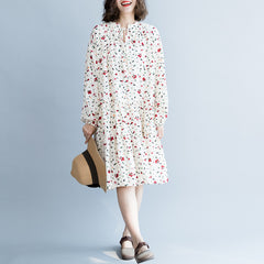 Cute Women White And Black Floral Chiffon Dresses For Summer Q6051