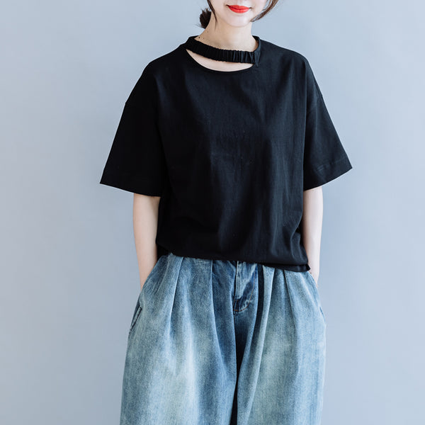 Black Cotton Loose Shirt Women Summer Casual Tops S7057