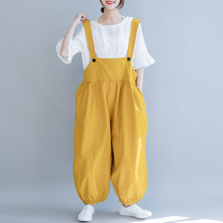 save off best value official store Loose Black And Yellow Wide-leg Overalls Women Casual Jumpsuit K6053