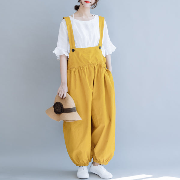 Loose Black And Yellow Wide-leg Overalls Women Casual Jumpsuit K6053