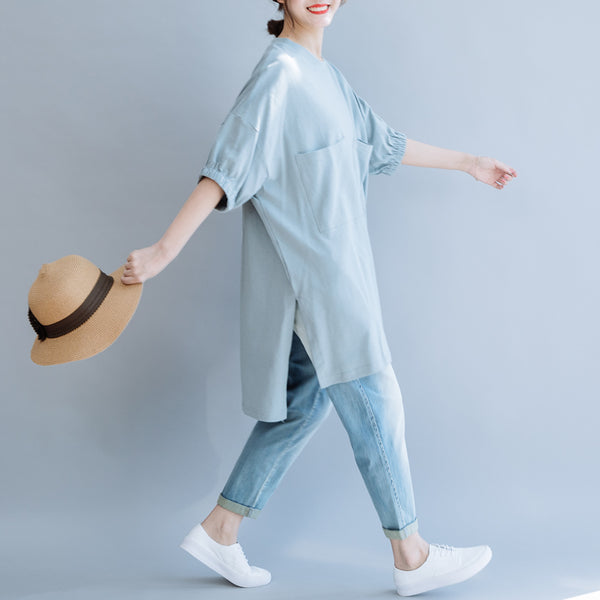Loose Women Cotton Shirt Casual Blue Blouse For Summer S8055