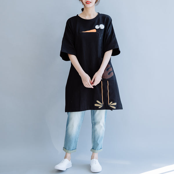 Summer Black Long Cotton Shirt Women Loose Simple Clothes S8056