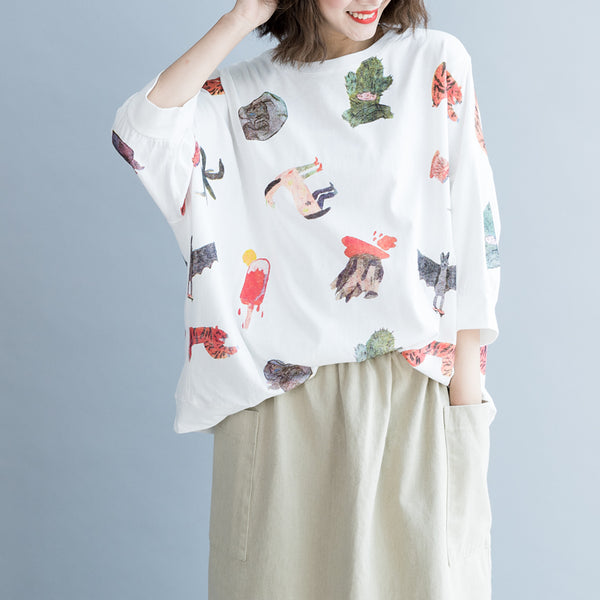 Cute White Print Cotton Loose Shirt Women Casual Summer Tops S8058
