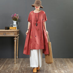 Black And Red Embroidery Loose Dresses Women Summer Casual Clothes 6939