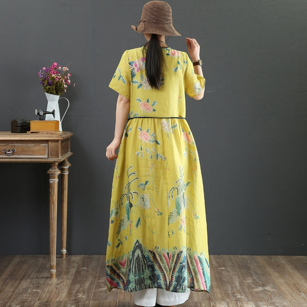 Yellow Print Vintage Women Linen Dresses Summer Loose Outfits 6929