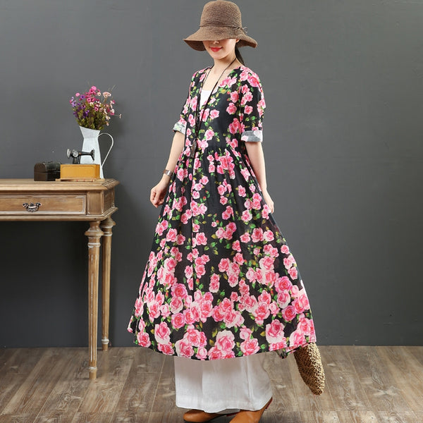 Loose Black Linen Floral Dresses Summer Vintage Clothes 6880