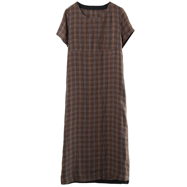 Coffee Plaid Vintage Linen Maxi Dresses Summer Casual Long Clothes 6861