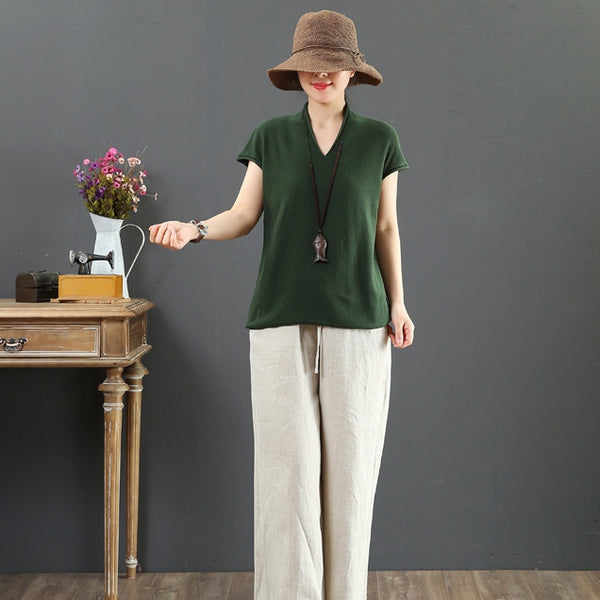 Summer Loose Pure Color Shirt Women Casual Simple Blouse 6858