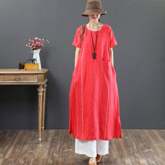 100% Linen Striped Maxi Dress Women Loose Summer Clothes 3323