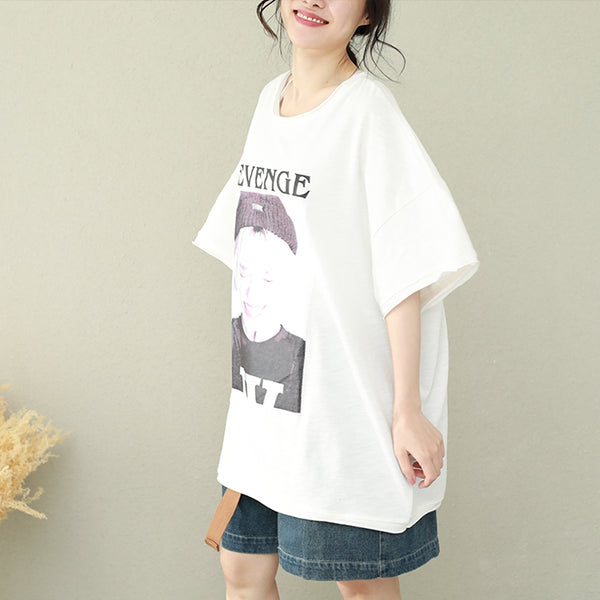 Loose Print Cotton Shirt Women Casual Thin Tops For Summer Q2672