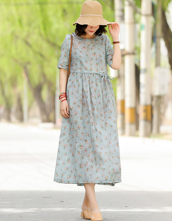Summer Cute Maxi Floral Dresses Women Loose Linen Clothes Q13051