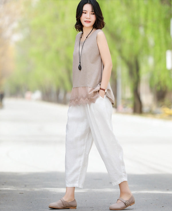 Vintage Beige And White Linen Pants Women Summer Casual Trousers K13502