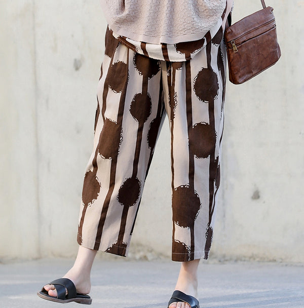 Vintage Summer Loose Linen Coffee Pants Women Casual Trousers K13053