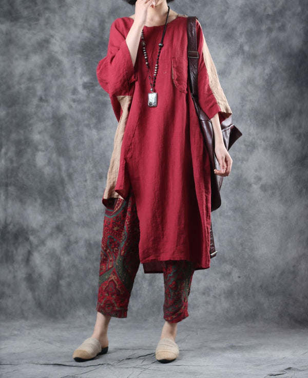 Loose Red Long Shirt Women Linen Summer Tops W0391
