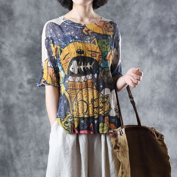 Vintage Gray Print Knitted Shirt Women Summer Loose Blouse W3295