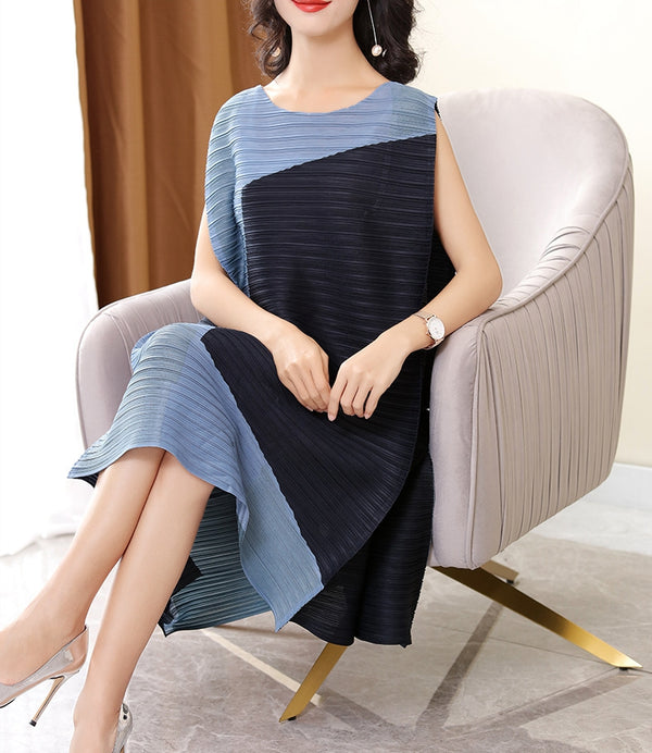 Simple Quilted Loose Sundresses Women Sleeveless Summer Dresses Q22050