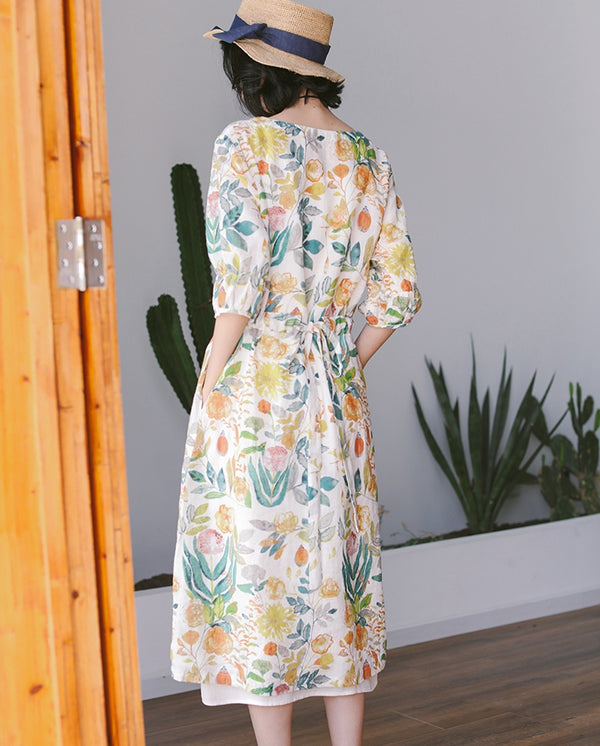 Cute Green Linen Floral Dresses Summer Loose Long Clothes Q9508