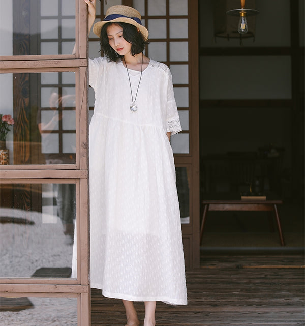 Casual Summer White Linen Maxi Dresses Women Loose Outfits Q9507