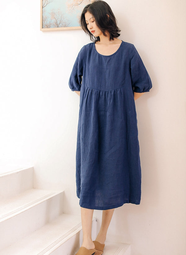 Women Loose Cotton Linen Maxi Dresses For Summer Q9427