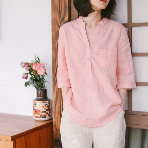 Loose Pure Color Linen Shirt Women Summer Casual Blouse W8726