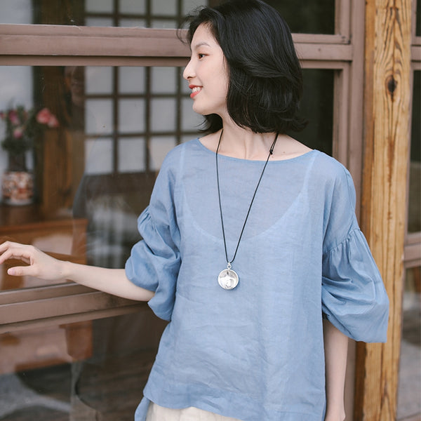 Women Long Sleeve Thin Blouse Summer Pure Color Linen Lycras S9409